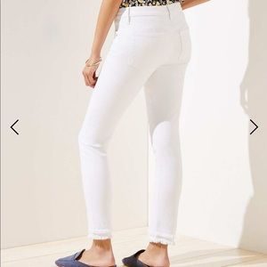 NWT Loft Frayed Slim Pocket Skinny Jeans In White